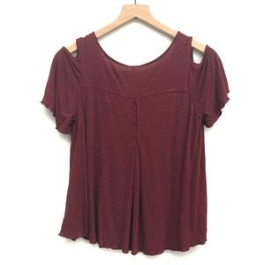 Free People Tops - Free People Maroon Red Cold Shoulder Top - Size XS